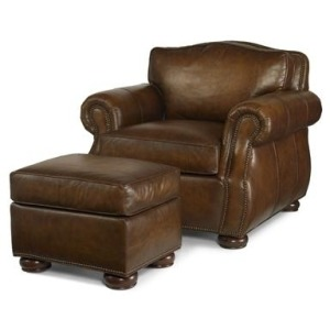 Century Trading Company LEATHER CHAIR WITH OTTOMAN