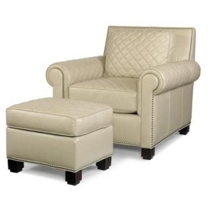 Frost Leather Chair With Ottoman