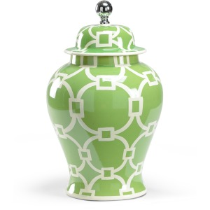 Large Green Covered Vase