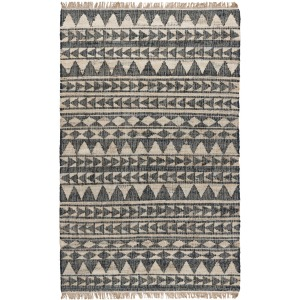 Solana Distressed Black Natural Rug 5x8