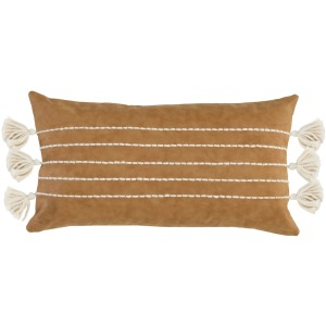 AF Ezekiel Vegan Leather Carmel Pillow 14x26