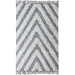 Carmel Kilim Shag Ivory/Black Rug 5x8