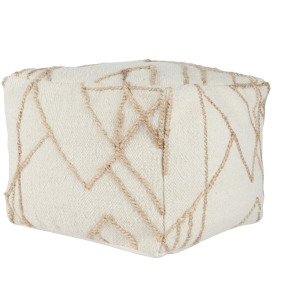 Sintra Ivory/Natural Pouf 18x18x14
