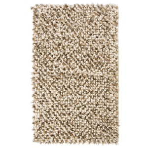 Marshmallow Shaggy Felted Poly/Wool Latte Blend Rug