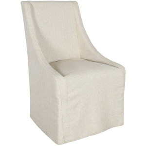Warwick Upholstered Rolling Dining Chair Oatmeal