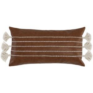 AF Ezekiel Vegan Leather Brown Pillow 14x26