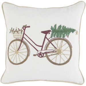 VE Jolly Bicycle Ivory 18x18 Pillow