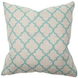 PR Tile Print Turquoise Pillow
