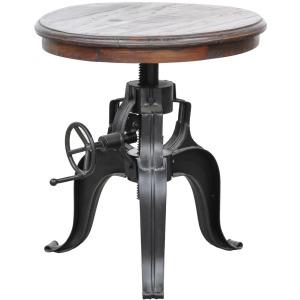 "Nika Crank Table w/ Reclaimed Wood Top 22"""