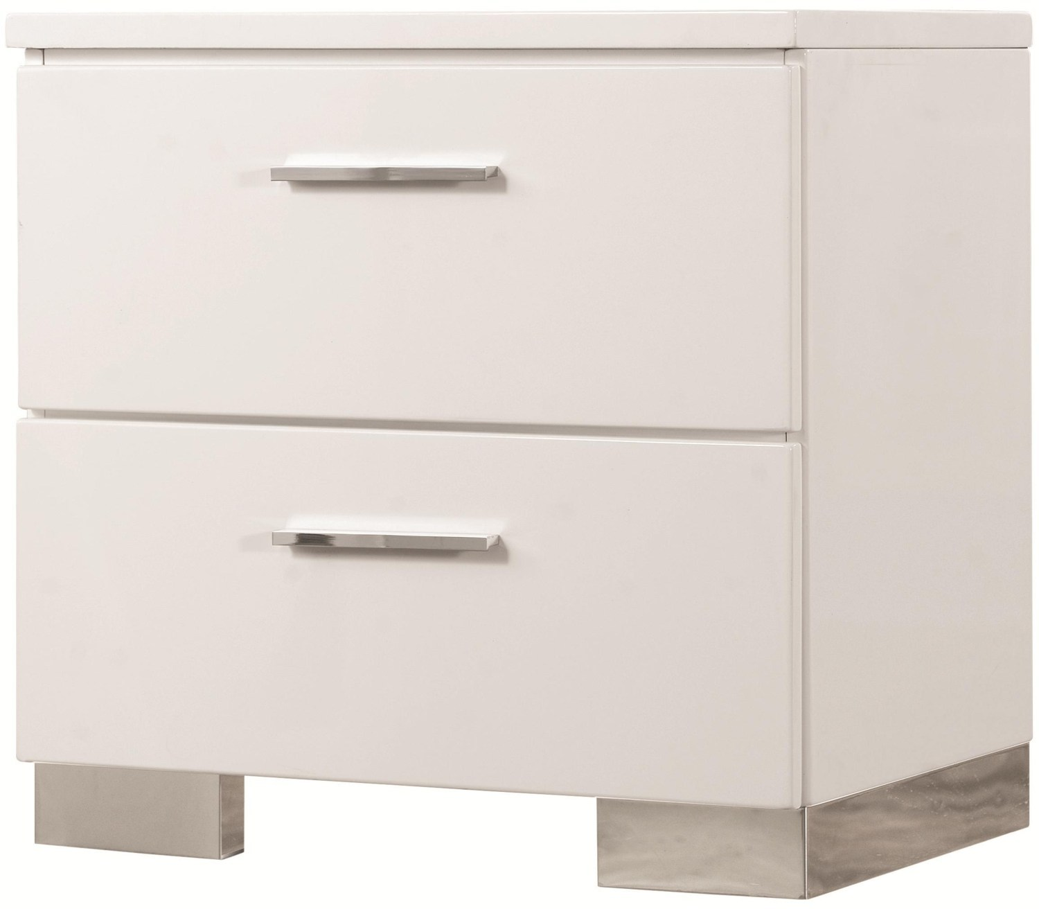 Felicity Contemporary Two Drawer Nightstand By Coaster Furniture 203502 Bruce Furniture Floor Covering