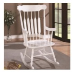 Rockers Wood Rocking Chair with White Finish and Slatted Back