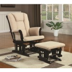 Rockers Casual Glider Rocker with Beige Upholstery and Storage Pocket