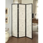 Folding Screens Three Panel Folding Floor Screen with Vintage Style Postal Script Panels