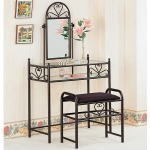 Vanities Casual Metal Vanity with Glass Top and Stool with Fabric Seat