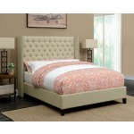 Benicia Beige Upholstered Queen Bed