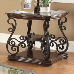 Occasional Group End Table with Tempered Glass Top & Ornate Metal Scrollwork