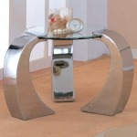 Custer Contemporary Metal End Table with Round Glass Top