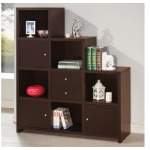 Bookcases Asymmetrical Bookshelf with Cube Storage Compartments