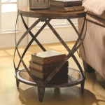 Accent Cabinets Contemporary Metal Accent Table with Drum Shape