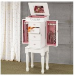 Jewelry Armoires White Jewelry Armoire with Pink Hardware