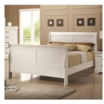 Louis Philippe 204 White Finish Twin Sleigh Style Bed