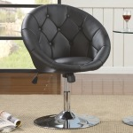 Dining Chairs and Bar Stools Contemporary Round Tufted Black Swivel Chair