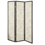 3-Panel French Script Print Folding Screen Espresso