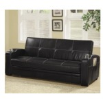 Sofa Beds Faux Leather Sofa Bed with Storage and Cup Holders
