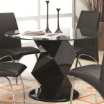 Ophelia Contemporary Glass Top Dining Table with Zigzag Pedestal