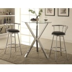 Bar Units and Bar Tables Round Pub Table with Glass Top and X-Shaped Chrome-Colored Base