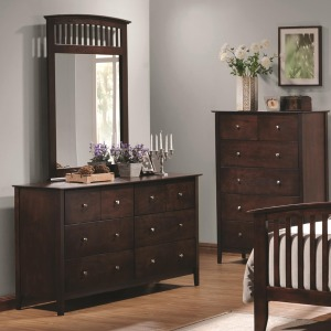 Tia 6 Drawer Dresser & Vertical Mirror