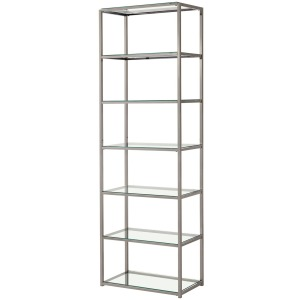 Bookcases Contemporary Metal Bookcase with Glass Shelves