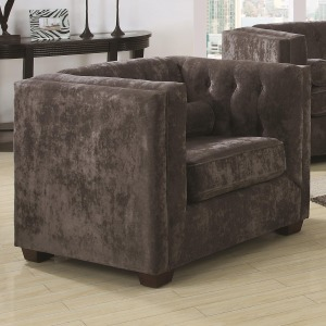 Alexis CH Transitional Upholstered Chesterfield Chair with High Track Arms