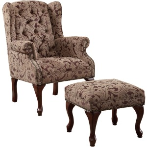 Tufted Back Accent Chair And Ottoman Light Brown And Burgundy