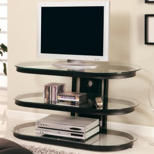 TV Stands Contemporary Metal and Glass Media Console