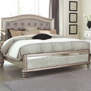 Bling Game California King Bed with Button Tufting