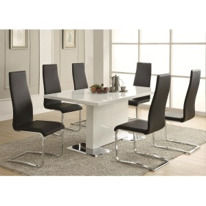 Modern Dining 7 Piece White Table & Black Upholstered Chairs Set