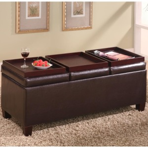 Ottomans Contemporary Faux Leather Storage Ottoman with Reversible Trays