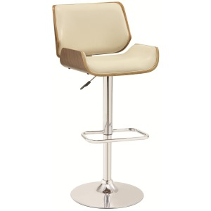 Bar Units and Bar Tables Adjustable Bar Stool with Ecru Upholstery and Wood Back