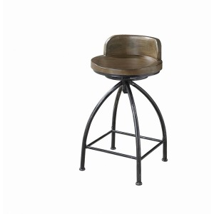 Rustic Swivel Metal Counter-Height Stool