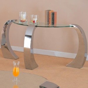 Custer Contemporary Sofa Table with Metal Base and Curved Glass Top