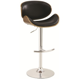 Contemporary Black Adjustable Height Bar Stool