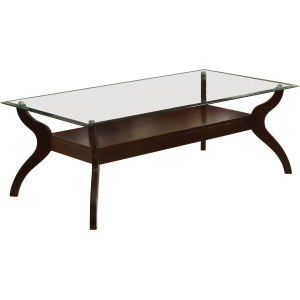 Glass Top Coffee Table With Shelf - Cappuccino