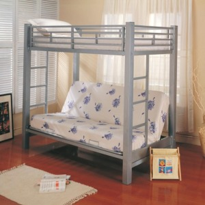 Bunks Twin Over Futon Metal Bunk Bed with Futon Mattress