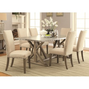 Webber 7 Piece Transitional Style Table and Chair Set with Metal Top and Nailhead Trim