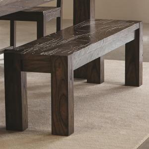 Calabasas Contemporary Bench with Wavy Wood Grain