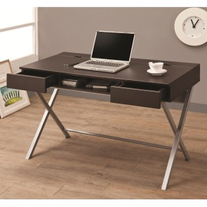 Desks Connect-It Desk (Cappuccino) with Built-in Outlet/Storage Compartment