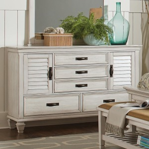 Franco Antique White Five-Drawer Chest With Louvered Panel Doors
