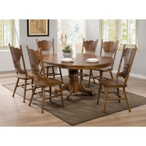 Brooks 7 Piece Table Set with Oak Finish Round/Oval Table