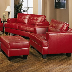 Samuel Contemporary Leather Chair and Tufted Leather Ottoman